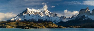 Lake in Front of Mountains, Lake Pehoe, Cuernos Del Paine, Paine Grande, Torres Del Paine Nation...--Photographic Print