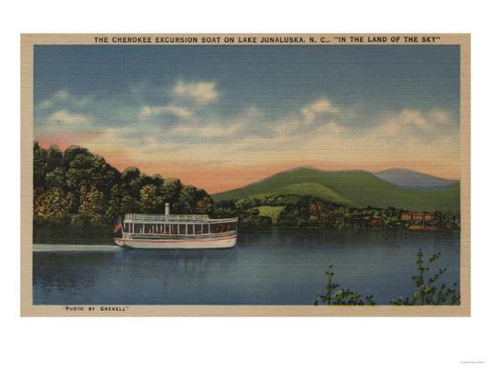 Lake Junaluska, NC - View of Cherokee Boat-Lantern Press-Art Print