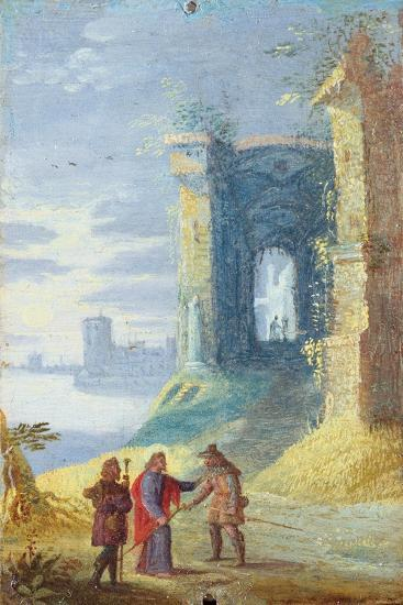 Lake Landscape with Christ Between the Two Disciples of Emmaus--Art Print