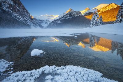 Lake Louise at Sunrise in Winter, Banff National Park, Alberta, Canada, North America-Miles Ertman-Photographic Print