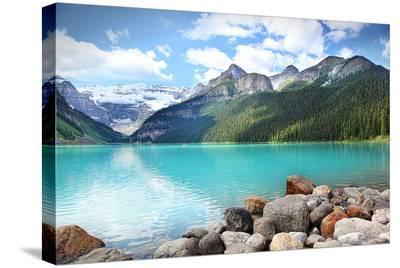 Lake Louise in Banff Natl Park--Stretched Canvas Print