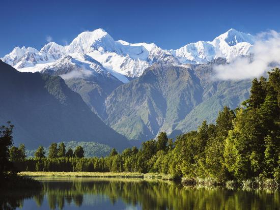 Lake Matheson, Mount Tasman and Mount Cook, Westland Tai Poutini National Park, New Zealand-Jochen Schlenker-Photographic Print