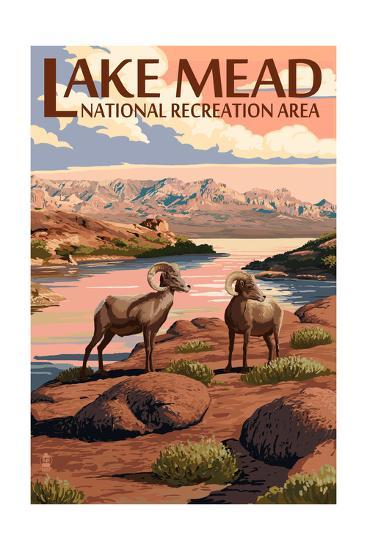 Lake Mead - National Recreation Area - Bighorn Sheep-Lantern Press-Art Print
