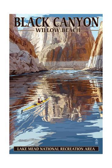 Lake Mead - National Recreation Area - Black Canyon Kayaker-Lantern Press-Art Print