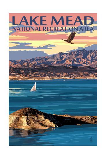 Lake Mead - National Recreation Area - Lake View-Lantern Press-Art Print