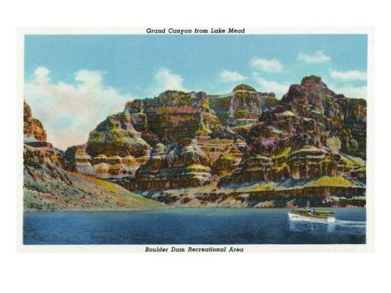 Lake Mead, Nevada, View of the Grand Canyon-Lantern Press-Art Print
