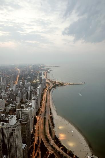 Lake Michigan and Chicago Skyline.-Ixefra-Photographic Print