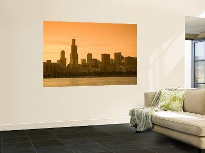 Lake Michigan and Skyline Including Sears Tower, Chicago, Illinois-Alan Copson-Wall Mural