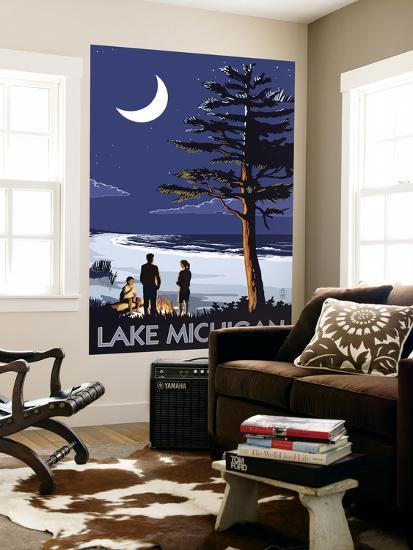 Lake Michigan - Bonfire at Night Scene-Lantern Press-Wall Mural