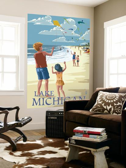 Lake Michigan - Children Flying Kites-Lantern Press-Wall Mural