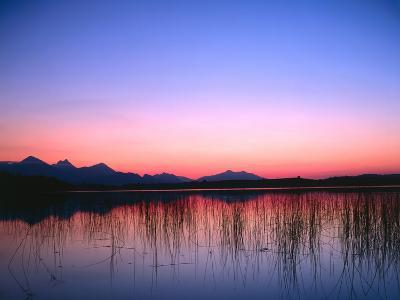 Lake, Mountains, Afterglow-Thonig-Photographic Print