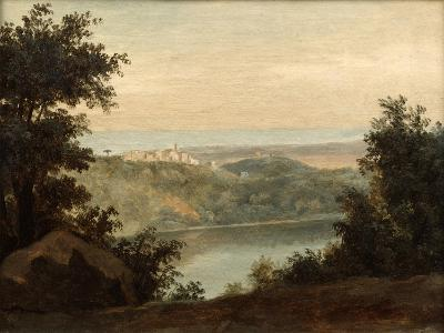 Lake Nemi, in the Background the City of Genzano, Late 18th-Early 19th Century-Pierre Henri de Valenciennes-Giclee Print