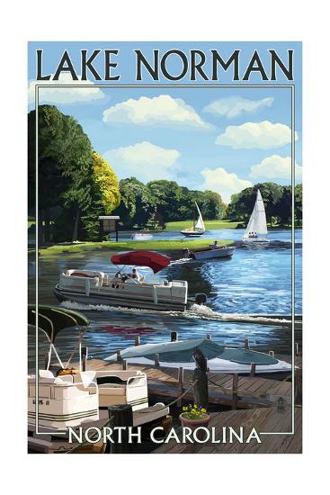 Lake Norman, North Carolina - Boating Scene-Lantern Press-Art Print