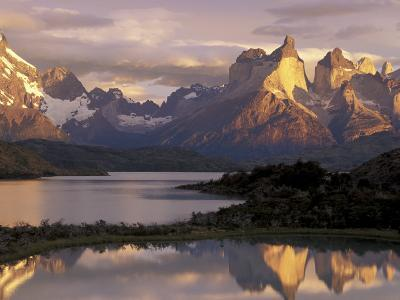 Lake Pehoe and Paine Grande at Sunrise, Torres del Paine National Park, Patagonia, Chile-Theo Allofs-Photographic Print