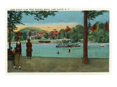 Lake Placid, New York - Exterior View of the Lake Placid Club from the Beach, c.1916-Lantern Press-Framed Art Print