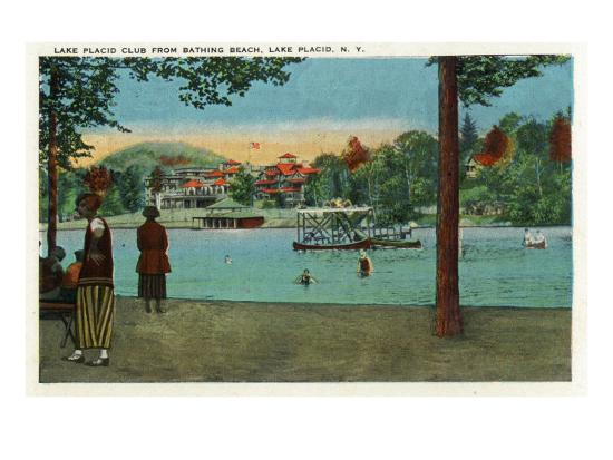 Lake Placid, New York - Exterior View of the Lake Placid Club from the Beach, c.1916-Lantern Press-Art Print