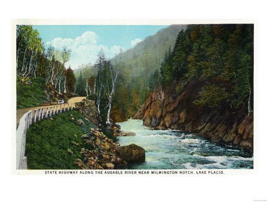 Lake Placid, New York - Hwy View of Ausable River near Wilmington Notch-Lantern Press-Art Print