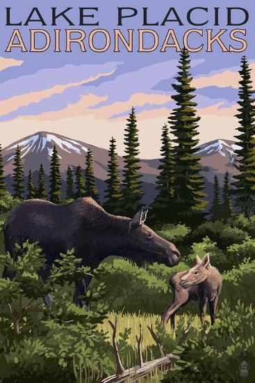 Lake Placid, New York - Moose and Calf-Lantern Press-Art Print