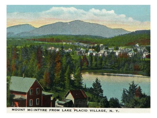 Lake Placid, New York - View of Mount Mcintyre from the Village, c.1916-Lantern Press-Art Print