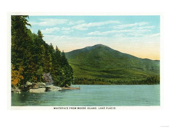 Lake Placid, New York - View of Whiteface Mountain from Moose Island-Lantern Press-Art Print