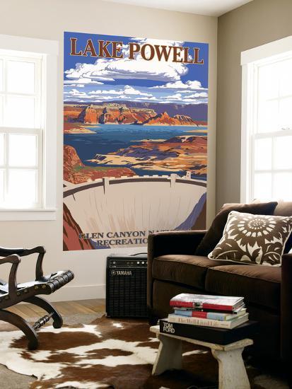 Lake Powell Dam View-Lantern Press-Wall Mural