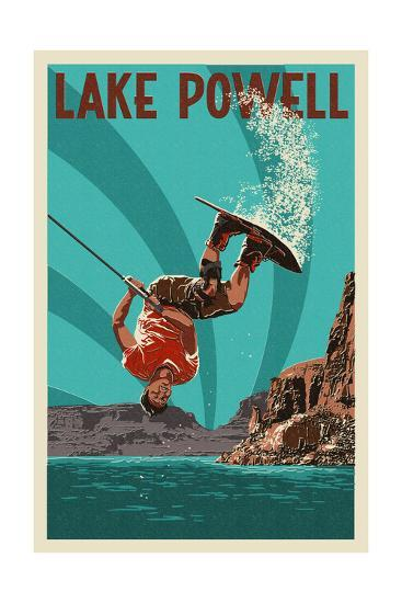 Lake Powell - Wakeboarder-Lantern Press-Art Print