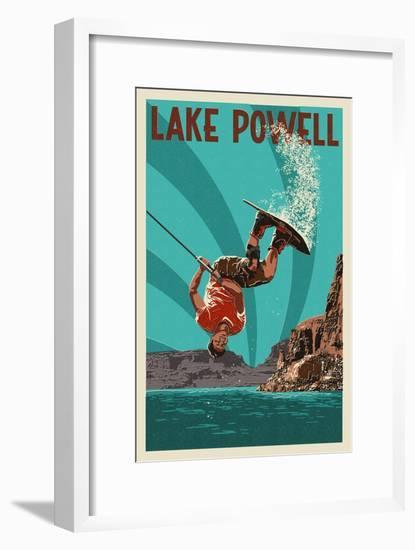 Lake Powell - Wakeboarder-Lantern Press-Framed Art Print