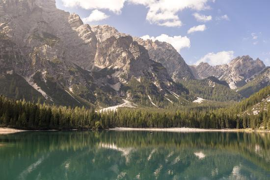 Lake Prags, Prags Dolomites, South Tyrol, Italy: The Mountains And Trees Refelcting On The Lake-Axel Brunst-Photographic Print