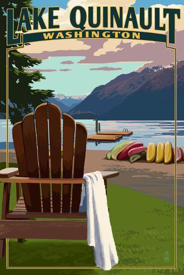 Lake Quinault and Adirondack Chairs - Washington-Lantern Press-Art Print