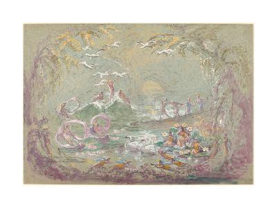 Lake Scene with Fairies and Swans-Robert Caney-Giclee Print
