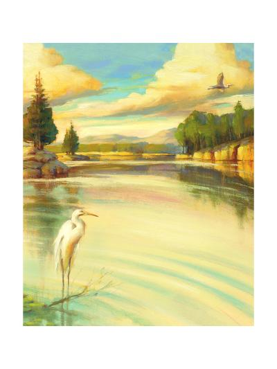 Lake Scene with Heron--Art Print