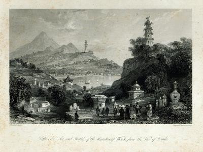 Lake See-Hoo and the Temple of Thundering Winds, from the Vale of Tombs, engraved by J.C. Bentley-Thomas Allom-Giclee Print
