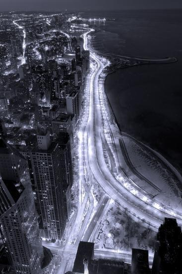 Lake Shore Drive Aerial Black White-Steve Gadomski-Photographic Print