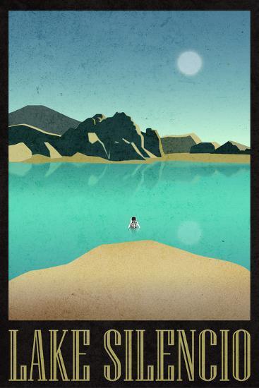 Lake Silencio Retro Travel--Art Print