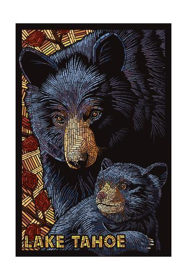 Lake Tahoe - Black Bears - Mosaic-Lantern Press-Art Print