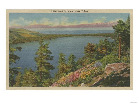 Lake Tahoe, CA - Fallen Leaf Lake and Lake Tahoe-Lantern Press-Art Print