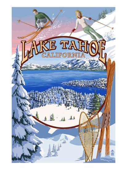 Lake Tahoe, CA Winter Views-Lantern Press-Art Print