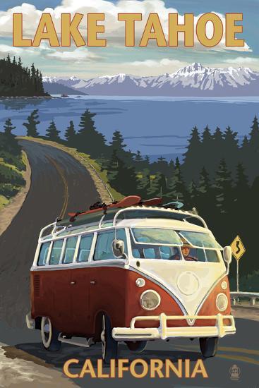 Lake Tahoe, California - VW Coastal Drive-Lantern Press-Art Print