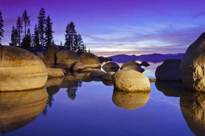 Lake Tahoe Sunset and Boulders