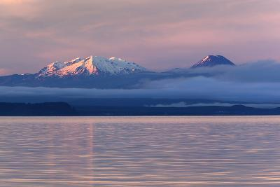 Lake Taupo with Mount Ruapehu and Mount Ngauruhoe at Dawn-Stuart-Photographic Print