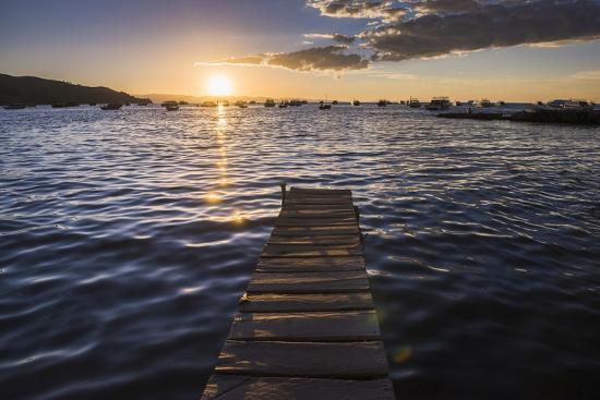 Lake Titicaca Pier at Sunset, Copacabana, Bolivia, South America-Matthew Williams-Ellis-Photographic Print