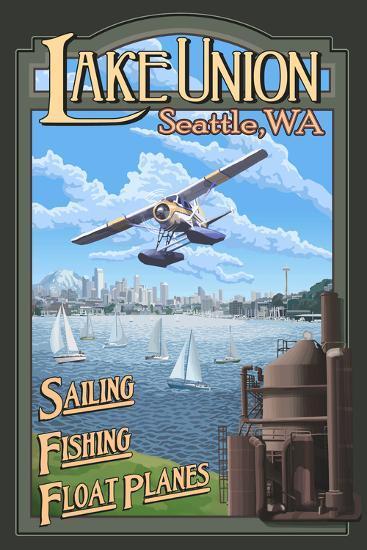 Lake Union Float Plane, Seattle, Washington-Lantern Press-Wall Mural