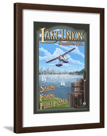 Lake Union Float Plane, Seattle, Washington-Lantern Press-Framed Art Print