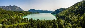 Lake Walchensee Aerial with Herzogstand Mountain Jochberg, Bavaria, Germany
