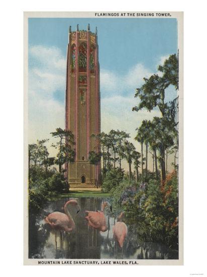 Lake Wales, FL - View of Singing Tower & Flamingos-Lantern Press-Art Print