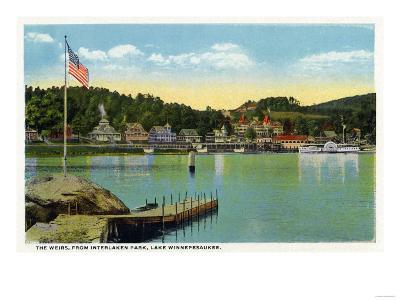 Lake Winnipesaukee, Maine - Interlaken Park View of the Weirs-Lantern Press-Art Print
