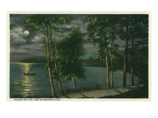 Lake Winnipesaukee, Maine - Moonlit Scene on the Lake-Lantern Press-Art Print