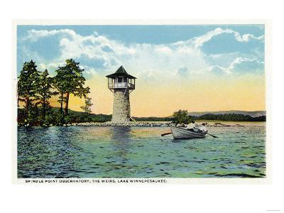 Lake Winnipesaukee, Maine - View of the Spindle Point Observatory, the Weirs-Lantern Press-Art Print