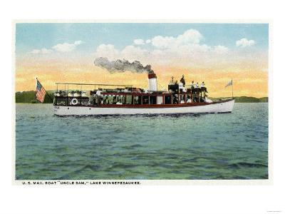 Lake Winnipesaukee, Maine - View of the US Mail Boat Uncle Sam-Lantern Press-Art Print