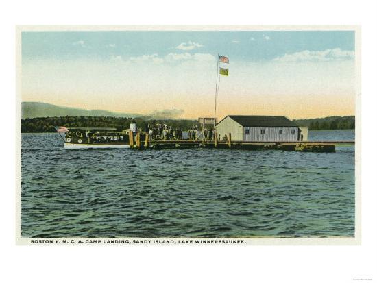 Lake Winnipesaukee, ME - Sandy Island, Boston YMCA Camp Landing View-Lantern Press-Art Print